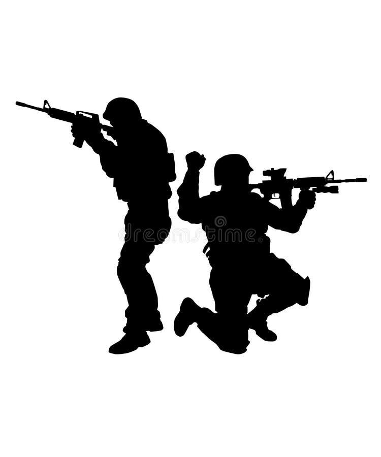 Två FLUGSMÄLLAkämpar som siktar vapenvektorkonturn royaltyfri illustrationer