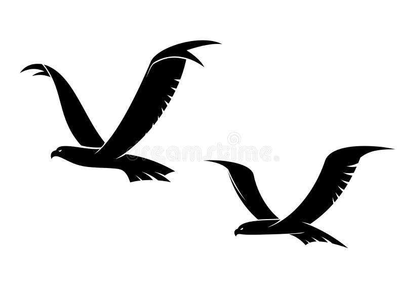 Två flygfåglar i kontur stock illustrationer
