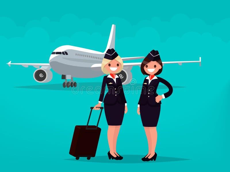 Två flygvärdinnor mot bakgrunden av borgerligt flygplan vektor illustrationer