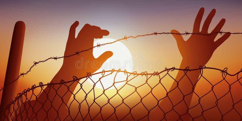 Två flyttande händer sträcker till taggtråd stock illustrationer