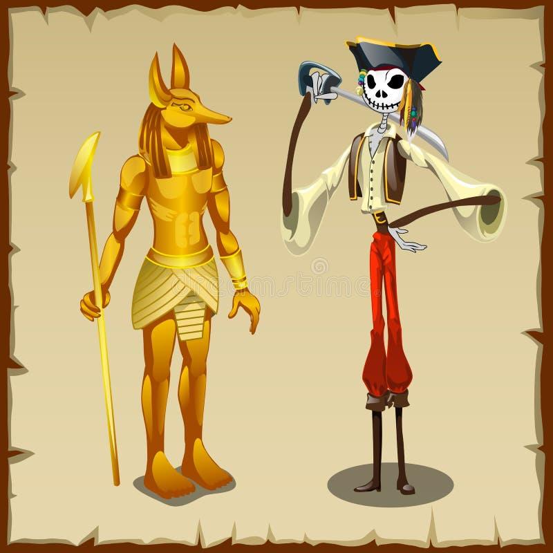 Två forntida symboler, Anubis statyett och piratkopierar royaltyfri illustrationer