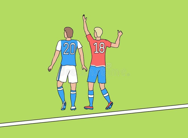 Två fotbollsspelare med nummer 2018 royaltyfri illustrationer