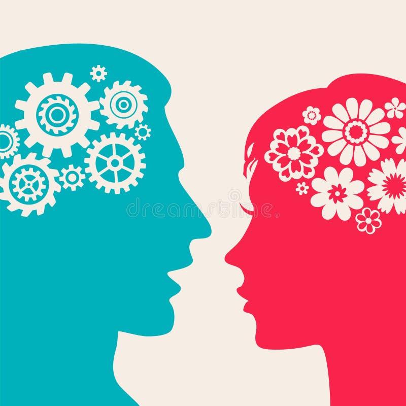 Två framsidor - man med kugghjul, kvinna med blommor royaltyfri illustrationer
