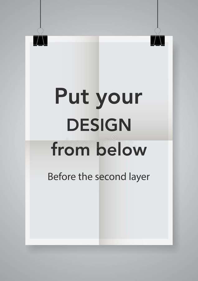 Två gånger en vikt affisch med klämmor Affisch med klämmor också vektor för coreldrawillustration stock illustrationer