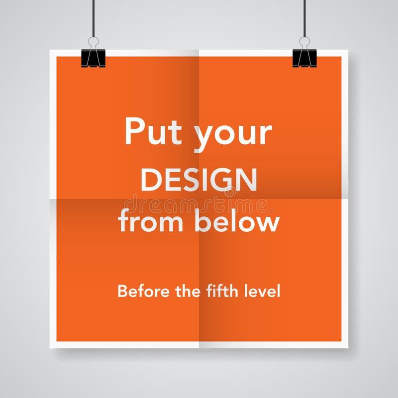 Två gånger en vikt orange affisch med klämmor stock illustrationer