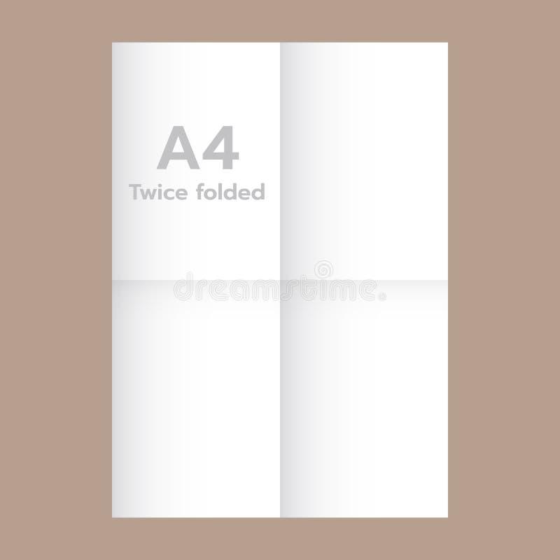 Två gånger vikt A4 pappers- modell, realistisk stil stock illustrationer
