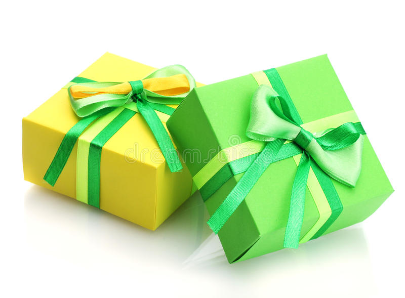 Två gåvor med bows fotografering för bildbyråer