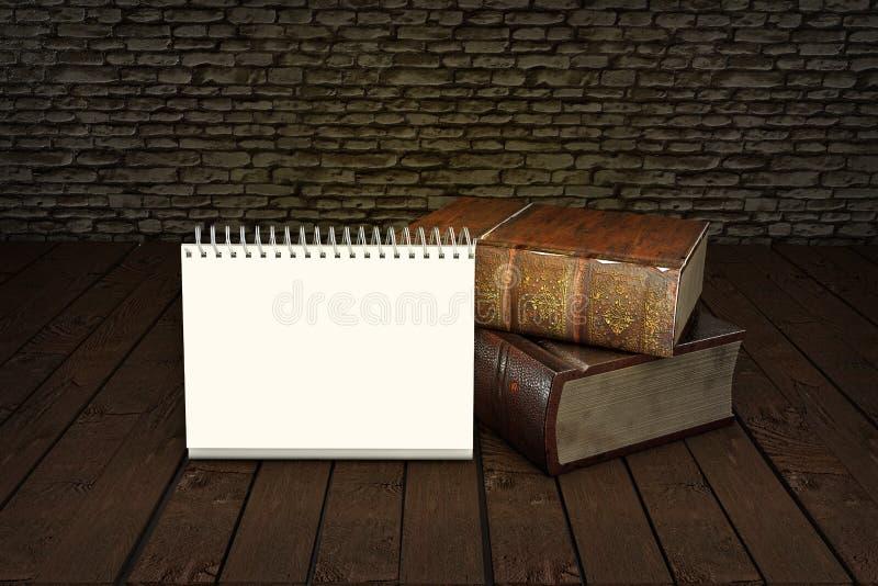 Två gamla böcker på trätabellen med fjädervingpennan i det glass bläckhornutbildningsbegreppet illustration 3d stock illustrationer