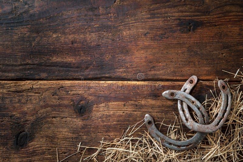 Två gamla rostiga hästskor med sugrör royaltyfria bilder