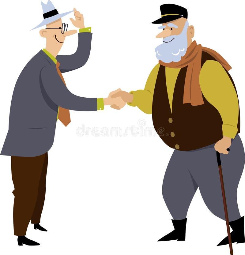 Två gamla vänner möter vektor illustrationer