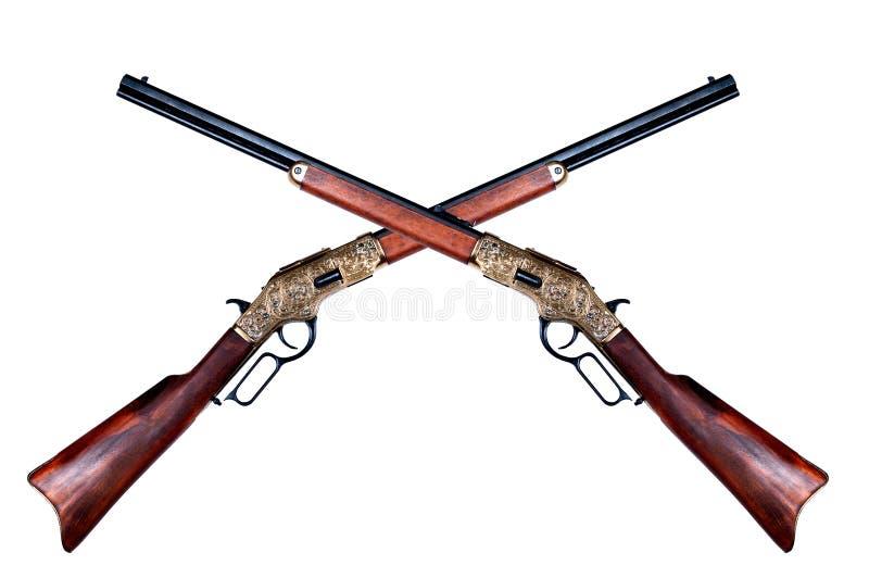 Två gammala gevär winchester royaltyfria bilder