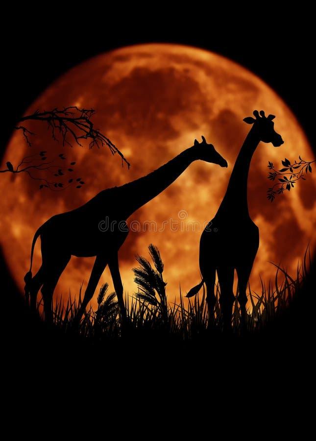 Två giraff med den stora månen stock illustrationer