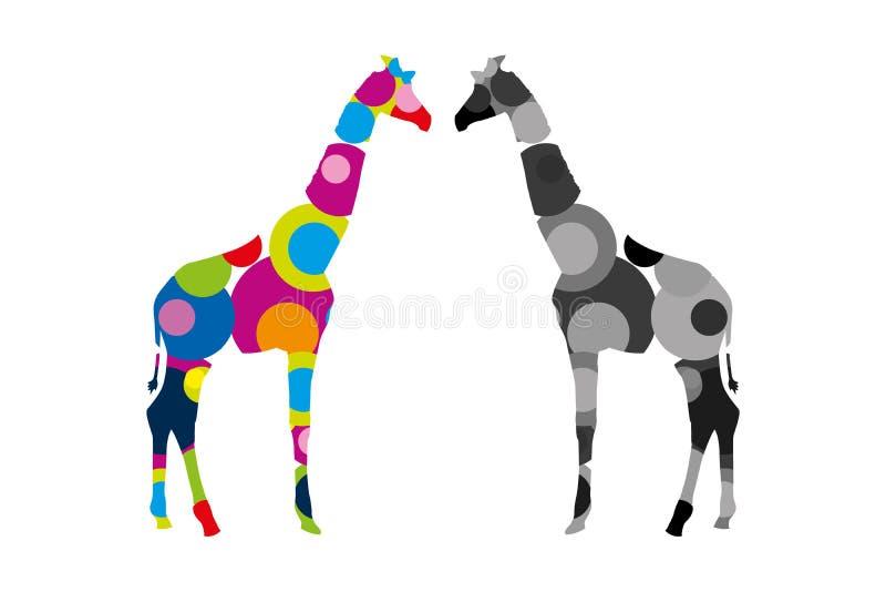 Två giraff som står framsidan - - framsida Färgrika och gråa safaridjur stock illustrationer