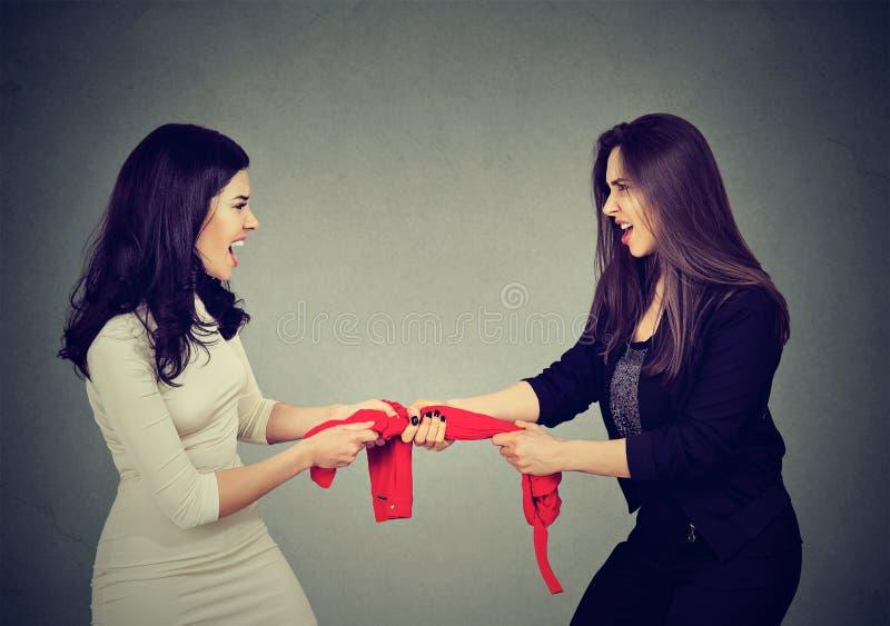 Två giriga kvinnor som slåss för röd ärmlös tröja på grå väggbakgrund arkivbilder