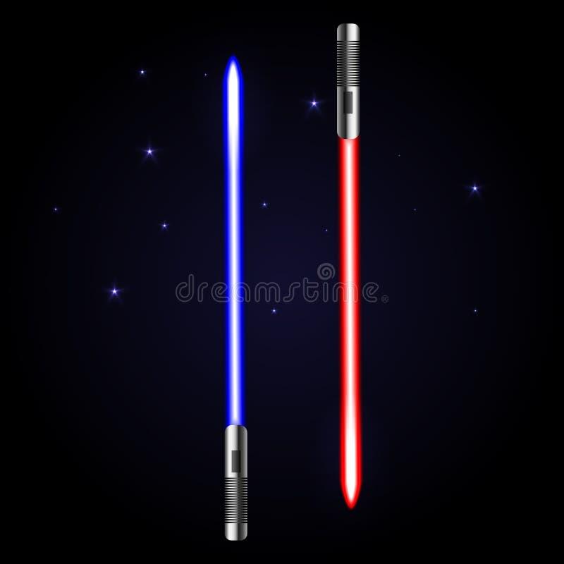 Två glödande svärd på kosmiskt mörker - blå bakgrund stock illustrationer