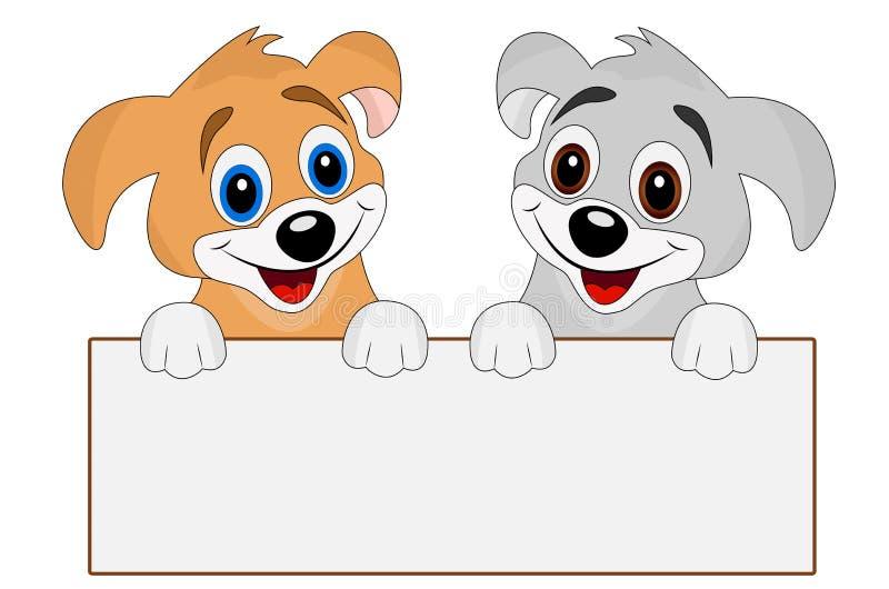 Två glade hundkapplöpning rymmer ett rent baner vektor illustrationer