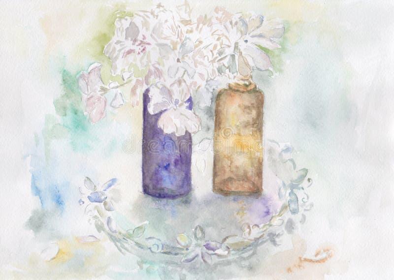 Två glasflaskor med blommor royaltyfri illustrationer