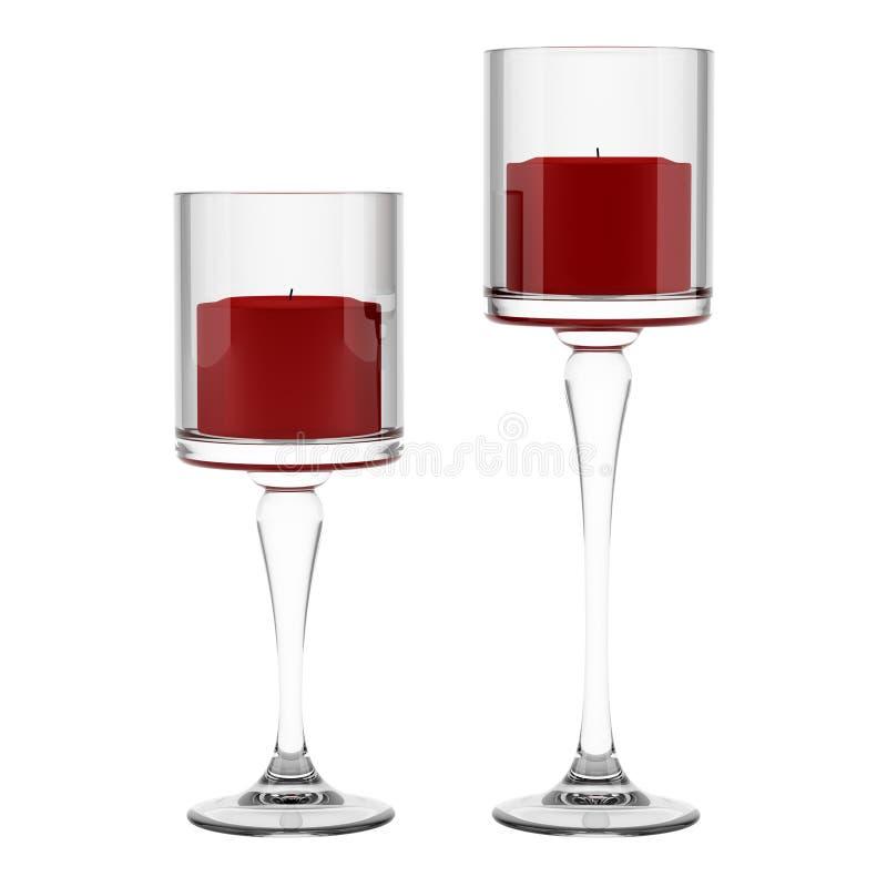 Två glass ljusstakar med röda stearinljus som isoleras på vit vektor illustrationer