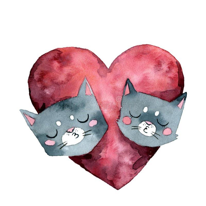 Två gråa katter kysser och den stora rosa hjärtavattenfärgen vektor illustrationer