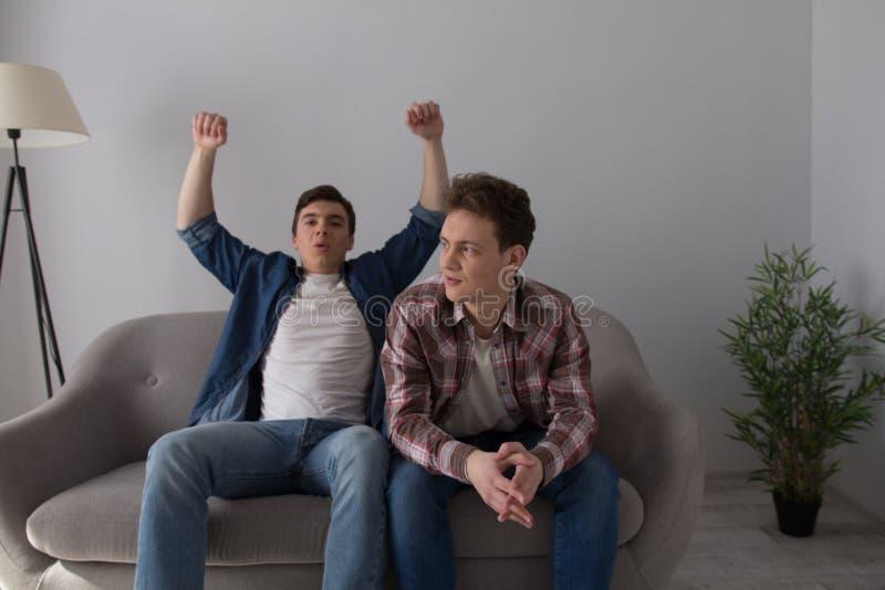 Två grabbar med bärbara datorn på soffan fotografering för bildbyråer