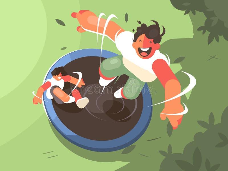 Två grabbar som hoppar på trampolinen stock illustrationer