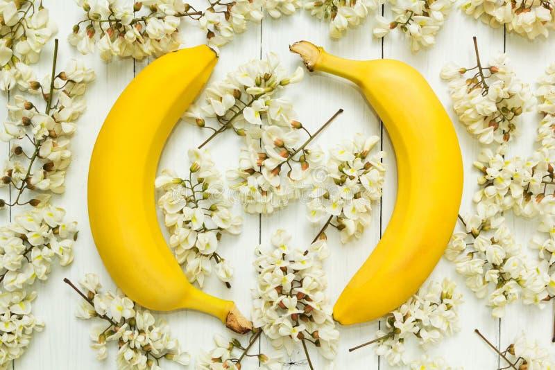 Två gula bananer på en bakgrund av vita akaciablommor royaltyfria foton