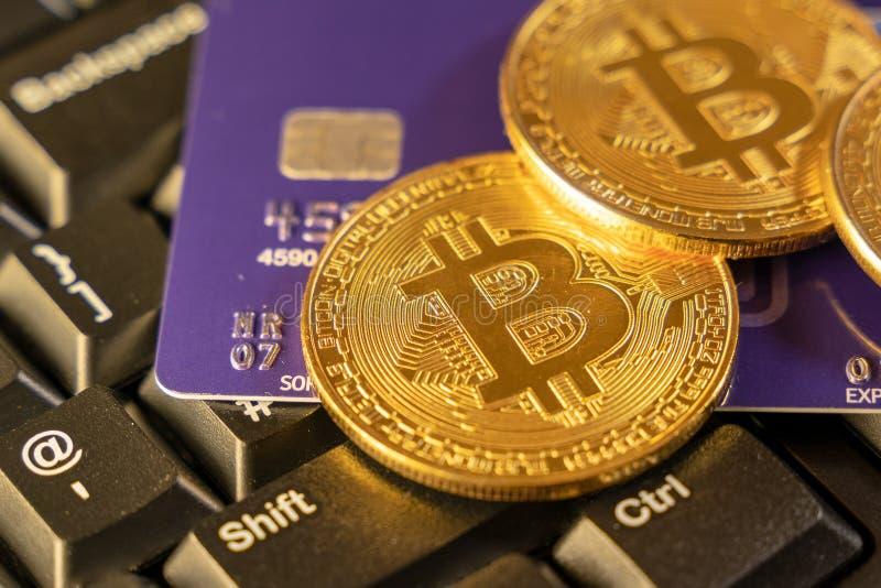 Två guld- bitcoins med den blåa kreditkorten överst av datortangentbordet på bakgrund, cryptocurrency som accepterar för betalnin royaltyfri foto