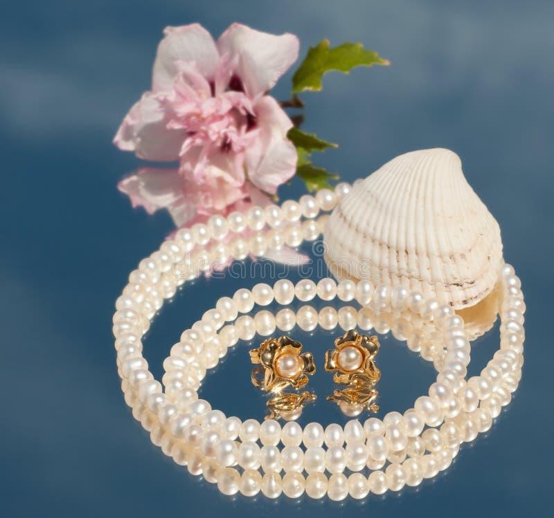 Två guld- pärlemorfärg öracirklar inom ett pärlemorfärg halsband arkivfoto