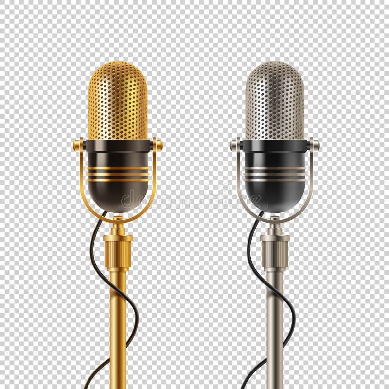 Två guld- retro mikrofoner - och krom, på en rutig bakgrund stock illustrationer