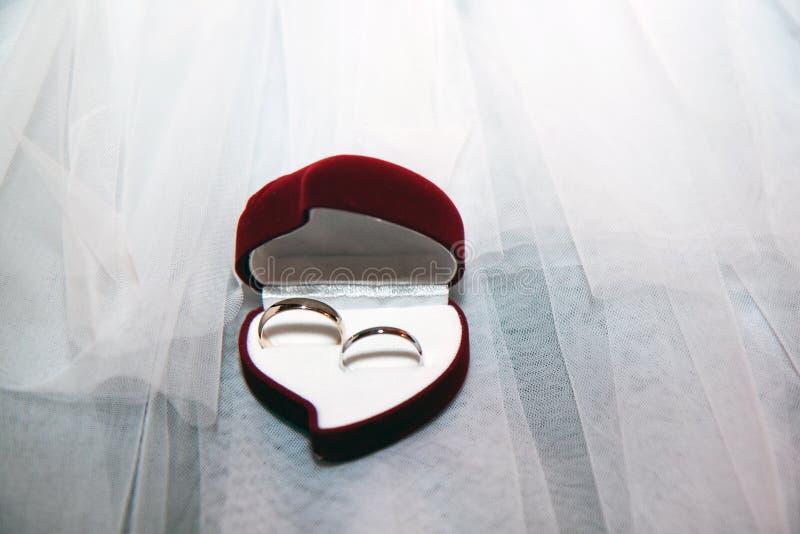 Två guld- vigselringar i ett fall royaltyfri bild