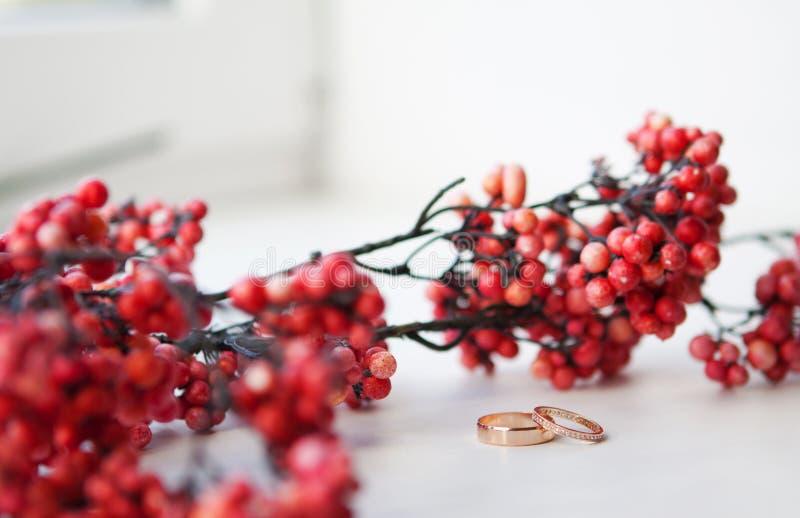 Två guld- vigselringar med en diamant nära de röda bären royaltyfria bilder