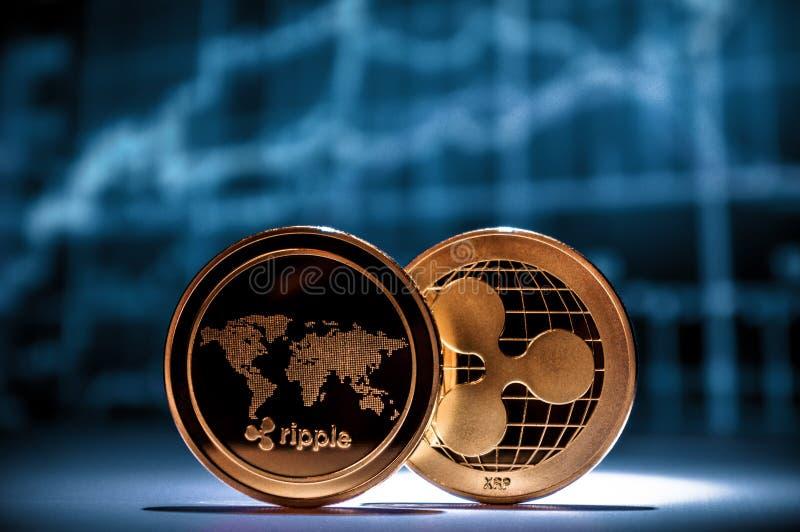 Två guld- xrpkrusningsmynt med finansiella diagram på bakgrund arkivbilder