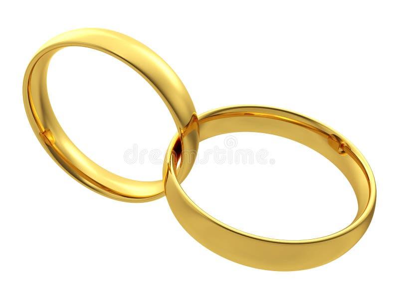 Två guldbröllopcirklar stock illustrationer