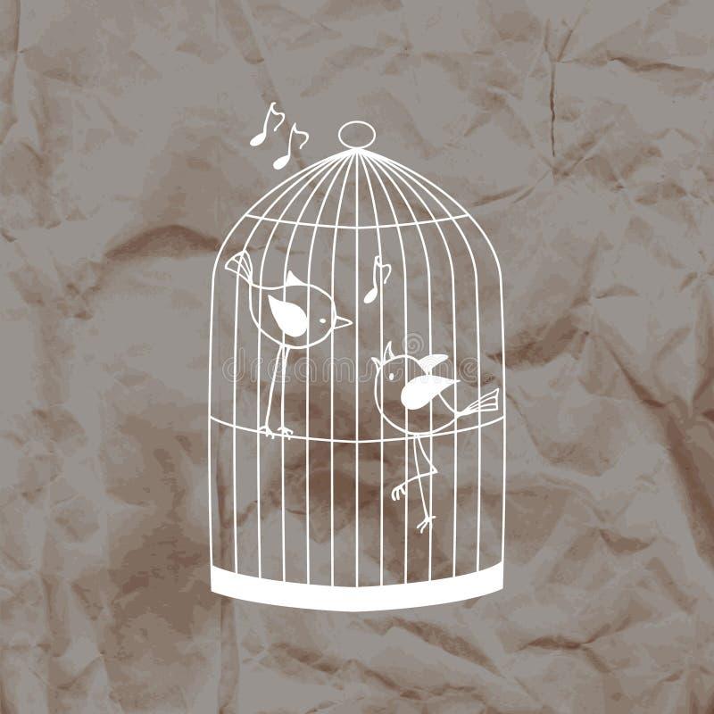 Två gulliga fåglar i en bur på en bakgrund för kraft papper vektor illustrationer