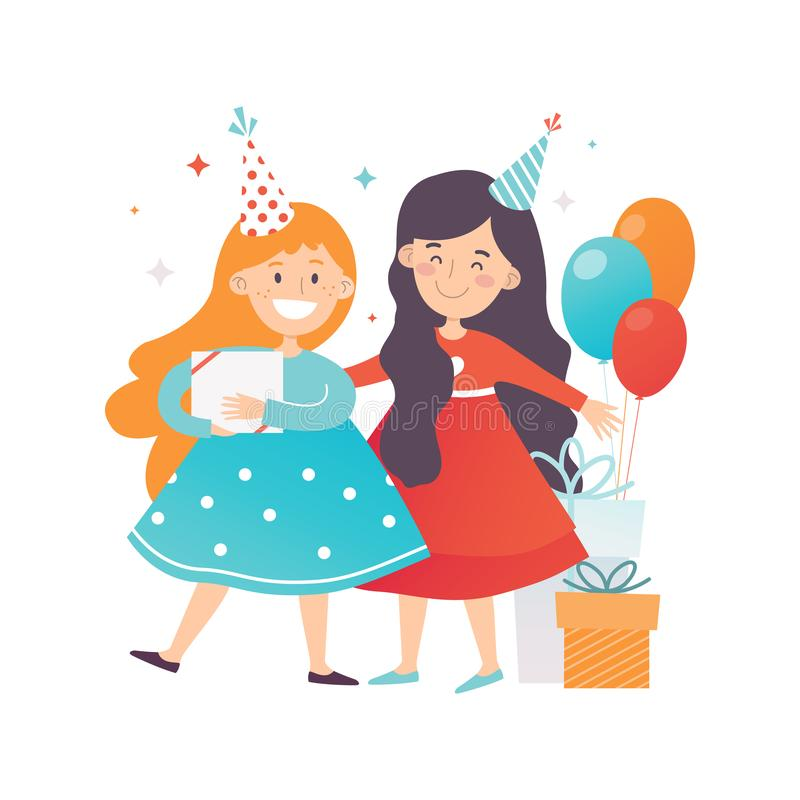 Två gulliga flickor som firar födelsedag Gladlynta vänner i partihattar Gåvor och luftballonger Plan vektordesign royaltyfri illustrationer