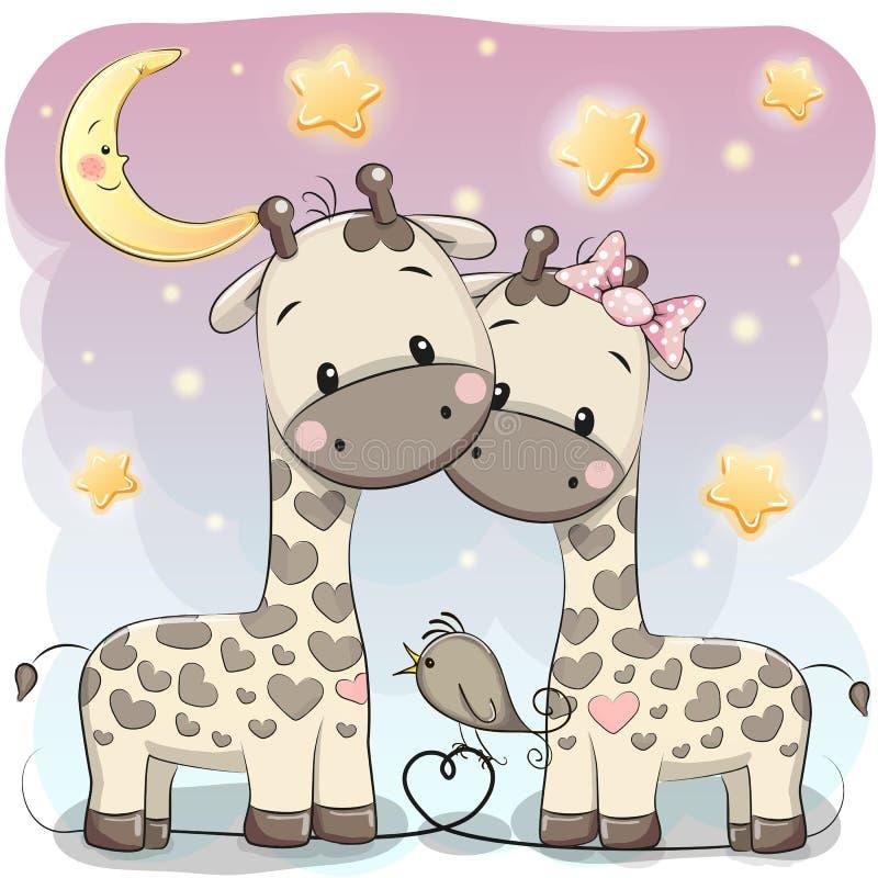 Två gulliga giraff vektor illustrationer