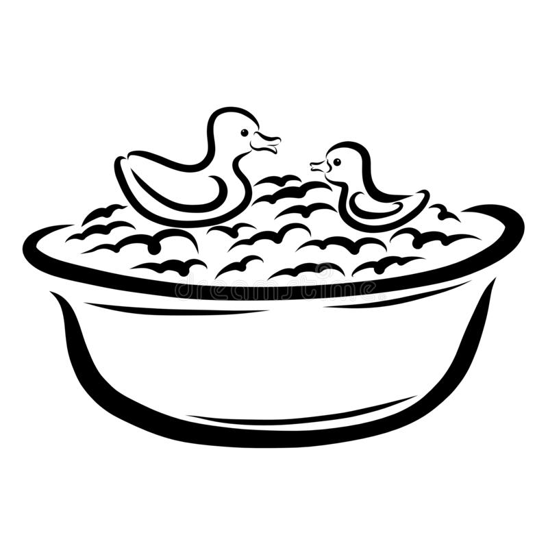 Två gulliga gummiänder som simmar i en bubbelbad stock illustrationer