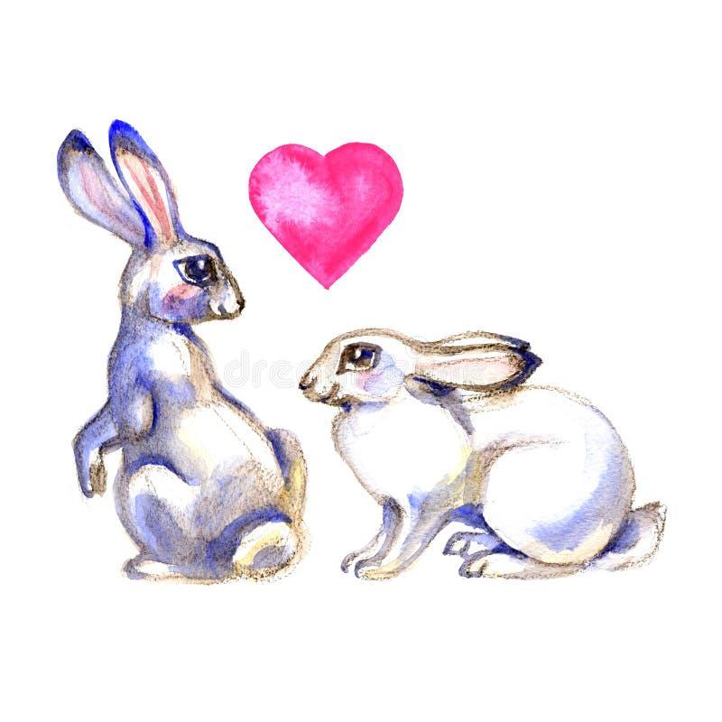 Två gulliga kaniner i konstnärlig stil Tryck för vattenfärgpåskkonst illustratören för illustrationen för handen för borstekol gö royaltyfri illustrationer