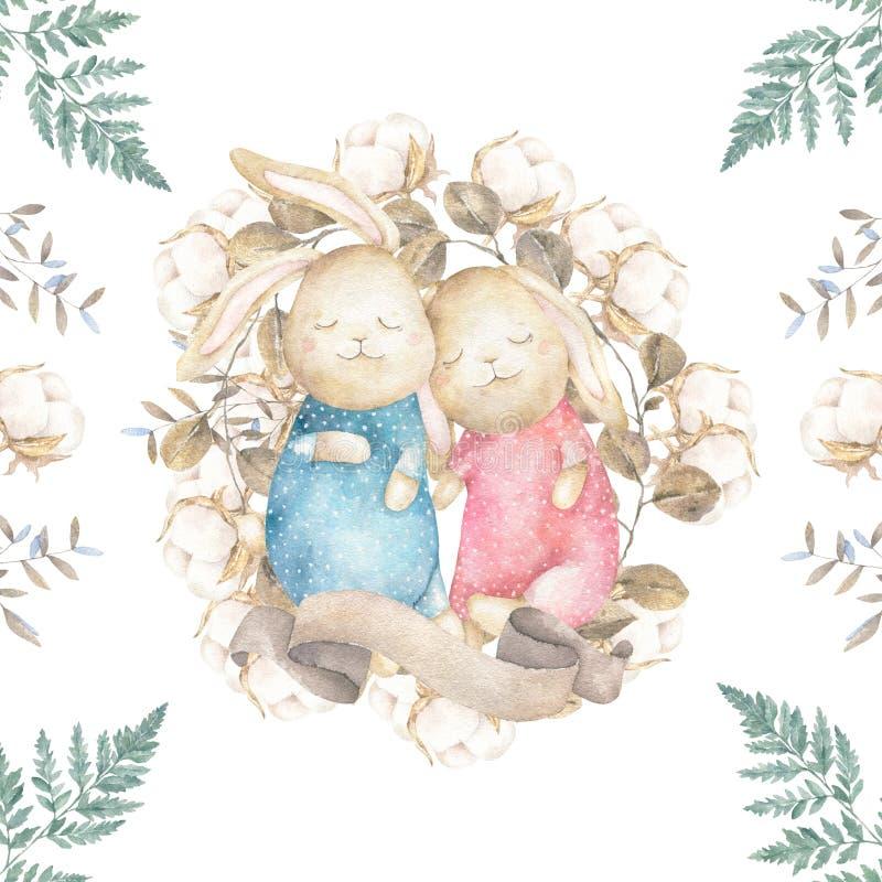 Två gulliga kaniner och bomull Tryck för vattenfärgpåskkonst illustratören för illustrationen för handen för borstekol gör teckni stock illustrationer