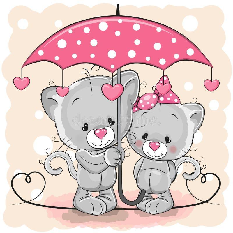 Två gulliga kattungar med paraplyet under regnet royaltyfri illustrationer