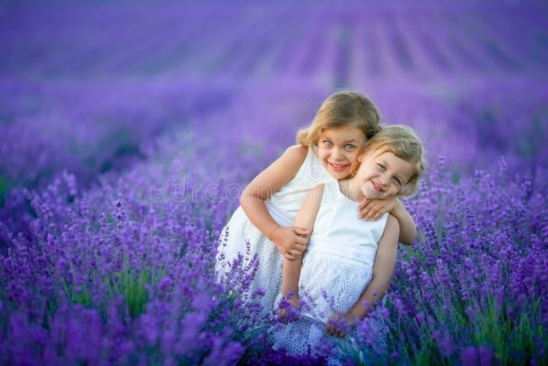 Två gulliga lilla systrar i ett lavendelfält fotografering för bildbyråer