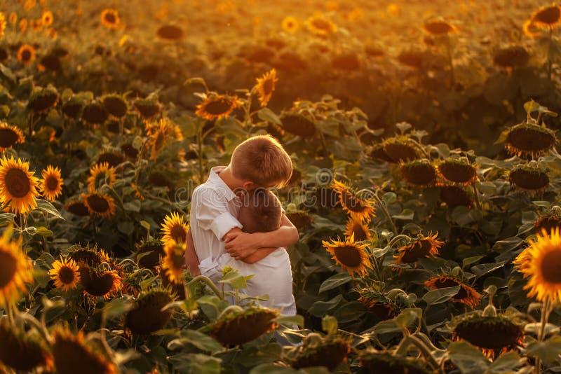 Två gulliga siblingpojkar som kramar och har det roliga solrosfältet Förtjusande vänner tillsammans på varm sommardag Broderföräl arkivbild