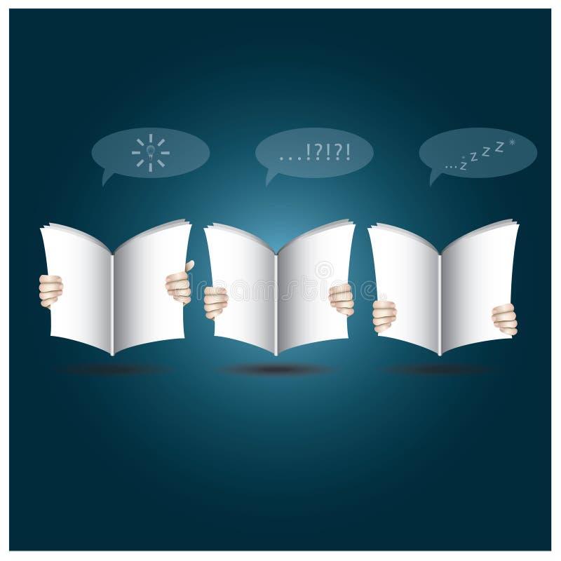 Två händer öppnar boken till att läsa vektor illustrationer