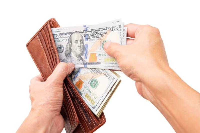 Två händer öppnar plånboken för att kontrollera dollarbeloppet för att förbereda sig för den nästa utgifter royaltyfria bilder