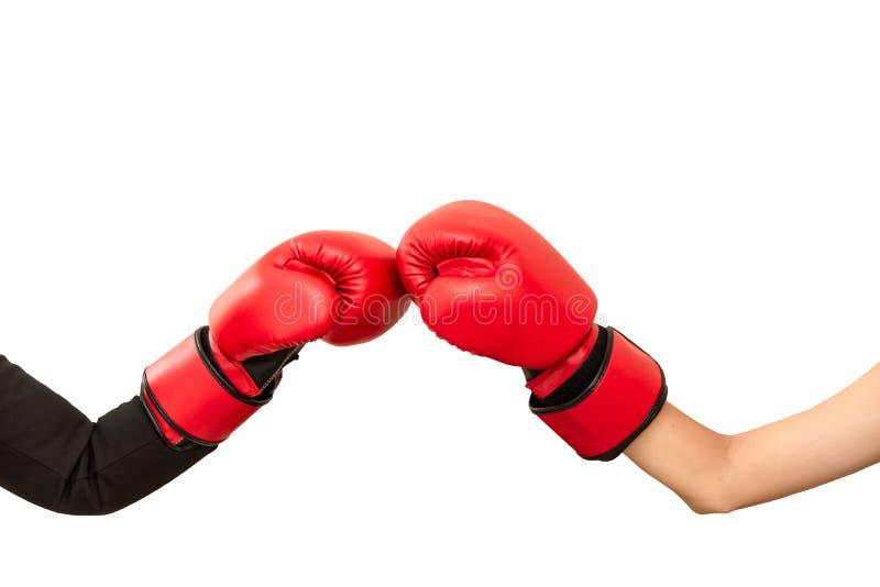 Två händer bär röda boxas handskar som stansar och att slåss strategiaffär och idérika idéer som isoleras på vit Konkurr royaltyfria bilder