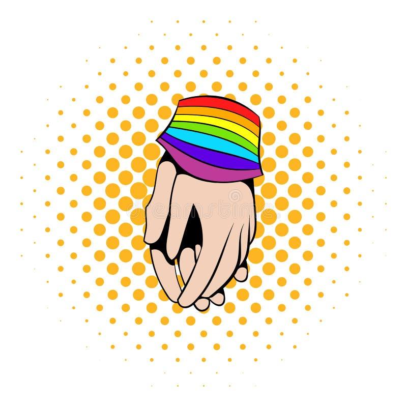 Två händer band regnbågebandsymbolen, komiker utformar vektor illustrationer
