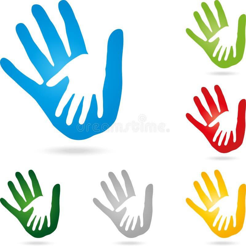 Två händer, handfärg, vektor stock illustrationer