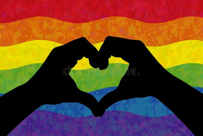 Två händer i form av hjärta över färgrik regnbågeflagga för LGBT stock illustrationer