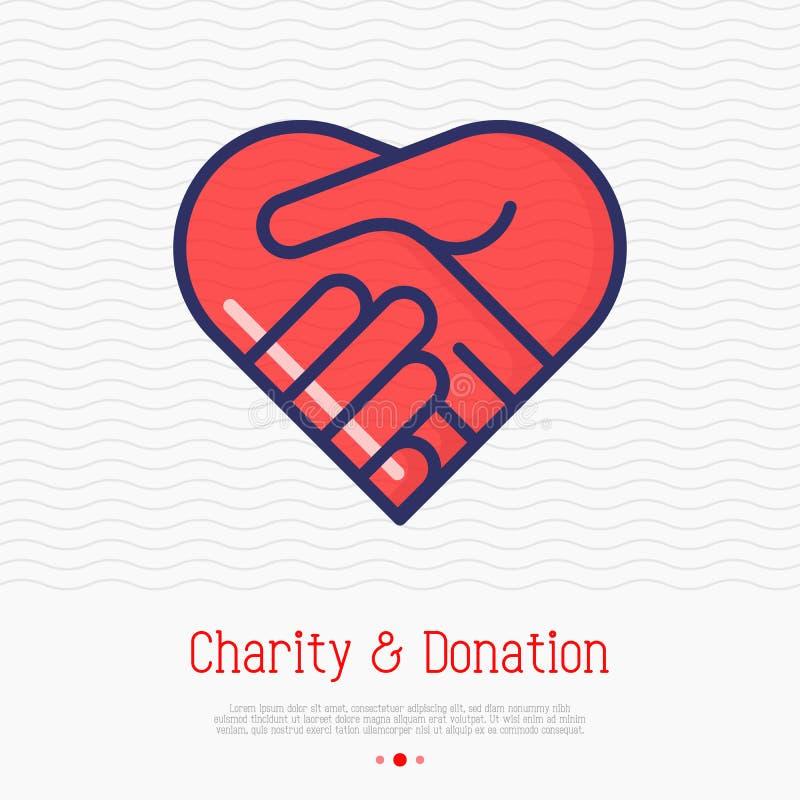 Två händer i form av hjärta gör linjen symbol tunnare royaltyfri illustrationer