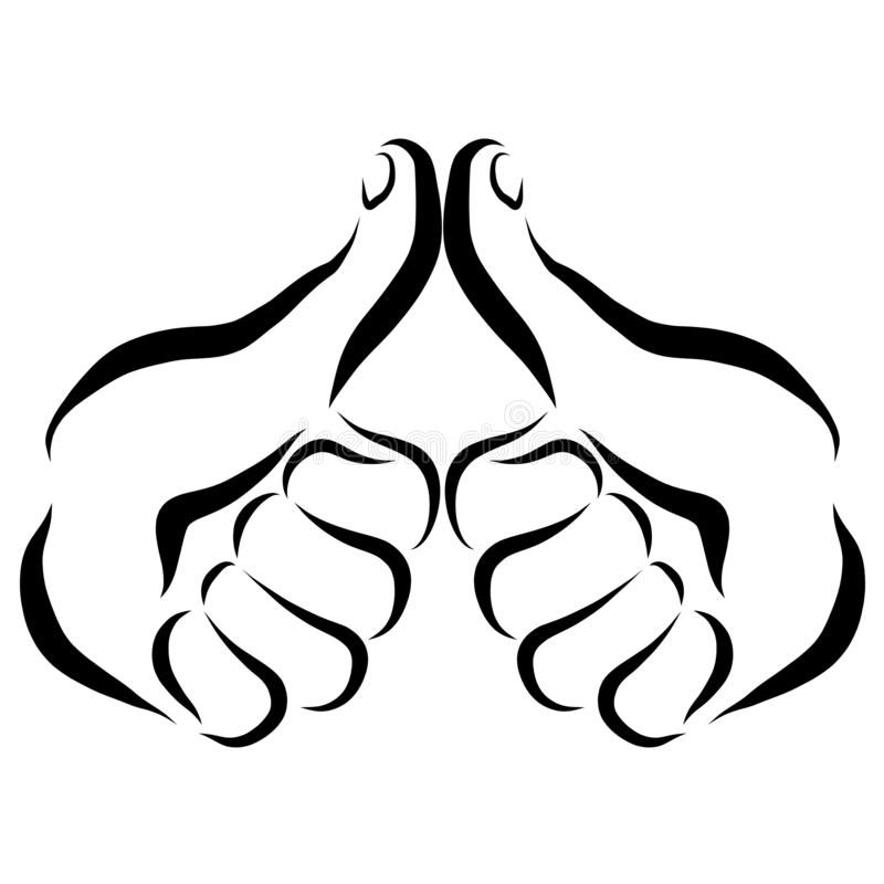 Två händer med tummen upp, godkännande eller hälsning stock illustrationer